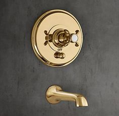 RH's Bistro Cross-Handle Balanced Pressure Tub & Shower Valve & Trim Set with Bath Spout:With Art Nouveau curves and lozenge finials, Bistro revives the old-world marriage of beauty and utility.