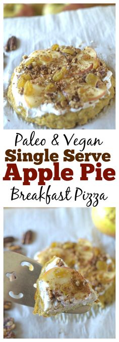 Looking for a healthy and filling breakfast? Make this Paleo Apple Pie Breakfast Pizza! Its gluten-free, grain-free, dairy-free and vegan-friendly! ♡