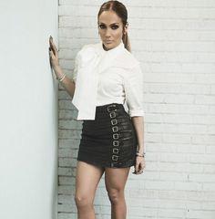 Jennifer Lopez wearing OSMAN blouse and Gucci mini skirt
