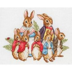 "Peter Rabbit Family Counted Cross Stitch Kit-7-3/4""X9-3/4"" 16 Count"