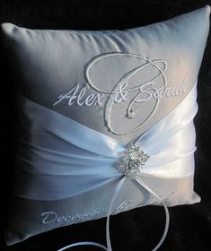 Let It Snow Personalized Wedding Ring Bearer Pillow - Silver and White Shown Other Colors Available on Etsy, $40.99