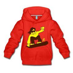 Snowboarder auf Wintersporturlaub Kinder Premium Hoodie. #snowboard #hoodie #Spreadshirt #Cardvibes #Tekenaartje #SOLD