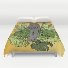 Tiger, Tropic Plants Duvet Cover by Salome | Society6