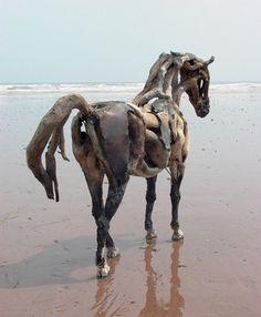 Horse sculptures of driftwood