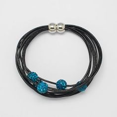Leather Making Bracelets, with Brass Magnetic Clasps and Handmade Polymer Clay Rhinestone Beads by Jersica