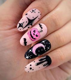 Holloween Nails, Cute Halloween Nails, Halloween Acrylic Nails, Halloween Nail Designs, Best Acrylic Nails, Spooky Halloween, Cute Fall Nails, Halloween Nail Colors, Halloween Room Decor