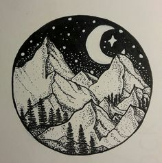 Tattoo Illustration Mountains and Stars