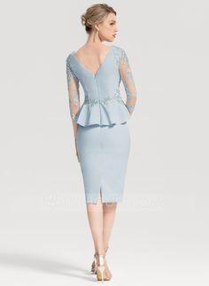 Sheath/Column V-neck Knee-Length Stretch Crepe Cocktail Dress With Appliques Lace Cascading Ruffles - Cocktail Dresses - JJ's House I Dress, Lace Dress, Party Dress, Crepe Dress, Satin Cocktail Dress, Cocktail Dresses, Couture, Ladies Dress Design, Special Occasion Dresses