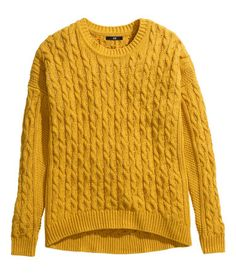 Mustard yellow cable knit jumper - H&M #Mustard