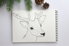 Deer Illustration, Piece Of Me, Drawing S, My Works, Line Art, Markers, Moose Art, How To Draw Hands, Handmade