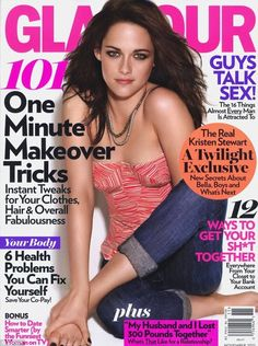 When Kristen Stewart posed on the cover of Glamour's November (2013) issue, she too fell victim to the photoshop madness. The potentially cute photo is ruined by a strange choice to cut off half of her arm (which somehow disappears into her leg).
