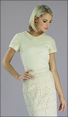 Holy cuteness. THIS is the top to go with the ruffly brown skirt, pleeeeeaasssseee? Mikarose. (check out the close-up online...) It is perfect in every way. Vintagey, lacey, cream, but not outshining your lace. Right?