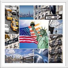 """Poster """"Collage New York City"""" in einem klassischen weißen Holzrahmen mit 3cm Passepartout und Anti-Reflex Acrylglasscheibe"""