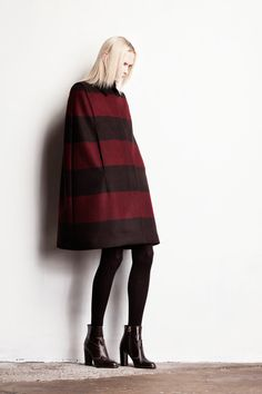 Cape. Stripes. Opaque tights with booties. Classic, cozy and a keeper.  Veronique Branquinho | Pre-Fall 2014 Collection | Style.com