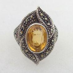 Estate Vintage Sterling Silver Marcasite & Citrine Ring Sz 6