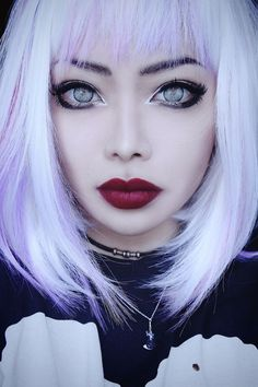 "lunarr-mermaid: "" Had to share this @WeHeartIt http://weheartit.com/entry/193714698/via/nyina "" Pastel Hair, Pastel Goth, Lilac Hair, Gray Hair, Dark Beauty, Gothic Beauty, Lolita Makeup, Gothic Makeup, Goth Hairstyles"
