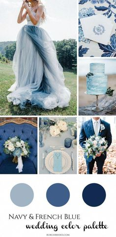 Navy and French Blue Wedding Inspiration - Wedding. - Navy and French Blue Wedding Inspiration – Wedding. Navy Wedding Colors, Wedding Color Schemes, Navy Blue Wedding Theme, Navy Blue Wedding Dresses, Colorful Wedding Dresses, Summer Wedding Themes, Summer Wedding Attire, Blue Wedding Decorations, Aisle Decorations