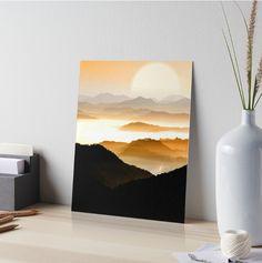 """Sunrise Mountain"" Art Boards by Sunrise Painting, Sun Painting, Acrylic Painting Canvas, Watercolor Art Landscape, Landscape Art, Watercolor Paintings, Easy Landscape Paintings, Small Paintings, Small Canvas Art"