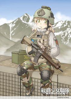 Anime girls with guns part Anime Girls, M Anime, Anime Art, Anime Military, Military Girl, Fantasy Comics, Anime Fantasy, Guerra Anime, Comics Anime