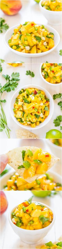 The Best Peach Mango Salsa (vegan, GF) - Fast, easy, and tastes a million times better than anything storebought! Perfect for your party! Mexican Food Recipes, Vegetarian Recipes, Cooking Recipes, Healthy Recipes, Chutney, Mango Salsa, Peach Salsa, Fruit Salsa, Healthy Snacks