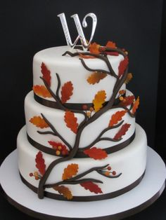Leaves and Berries Fall Wedding Cake  Minus the leaves and berries would work nicely