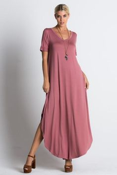 Loose Fit V-Neck Maxi Dress