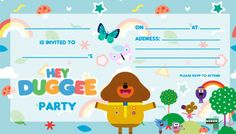Tips for planning a Hey Duggee party - Hey Duggee Birthday Party Planner, 70th Birthday Gifts, Birthday Cards For Men, Unicorn Birthday Parties, First Birthday Parties, Birthday Party Invitations, 3rd Birthday, Birthday Ideas, Birthday Badge