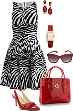 SPRING/SUMMER FASHION 2013:    Get inspired and let the animal side out in you in this white & black zebra print fitted knit dress, red patent leather sling-back pumps and a red glossy patent leather midi bag with red and gold tone jewelry.