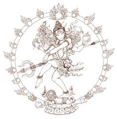 Shiva Nataraja Line art Drawing Sketches, Drawing Ideas, Art Drawings, Indian Gods, Indian Art, Lord Shiva Family, Lord Shiva Painting, Goddess Tattoo, Nataraja
