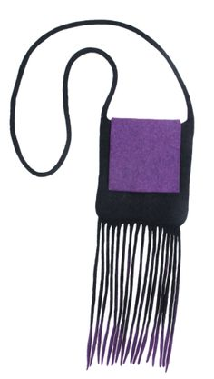 """Handmade felt bag. 100% wool. Functional and at the same time gorgeous. 18x20 cm. Fringe and weaving are favourite decoraive elements of the Kyrgyz women's costume. Variety of brushes would decorate houses also in unimaginable shades of waterfall. Products in """"Felt threads"""" series were made by felting wool in hollow technique."""