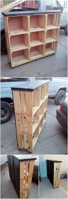 This cabinet creation stand out of the wood pallet has been much designed out in the creative and artistic designing work. It has been put together with the involvement of the divisions of the shelving unit planks arrangement in the different divisions. It is functionally best to be used in houses.