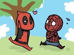 emeraldotter:    Spiderman and Deadpool doodle.
