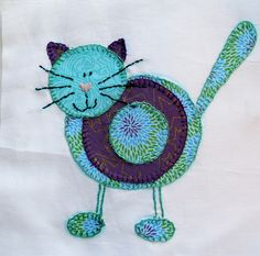 cat applique quilt   International Quilting Patterns, adorable cat appliques