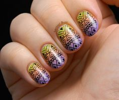 It's Friday, so it's time for some fun nail art ! I've got a great stamping plate from the Born Pretty Store to show yo. Nail Art Hacks, Nail Art Diy, Cool Nail Art, Nail Art Designs, Popular Nail Designs, Garra, Stamping Plates, Nail Stamping, Country Nails