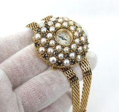 Vintage Lucien Piccard 2.30ct Sapphire & Pearl Large Size 14K Yellow Gold Watch #LucienPiccard #LuxuryDressStyles