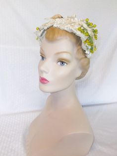 1950's Vintage White Head Band Hat with Green by MyVintageHatShop, $31.00