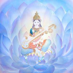 """Saraswati""  Beautiful harmony of veena As a big river, it never stop flowing  filled with in heaven filled with in the sky filled with on the ground  then filled and split,  everything will resonate  *Saraswati (Sanskrit: सरस्वती, Sarasvatī) is the Hindu goddess of knowledge, music, arts, wisdom and learning. Saraswati Goddess, Goddess Art, Lord Saraswati, M109, Spiritual Pictures, Divine Mother, Indian Art Paintings, Buddha Art, Hindu Deities"