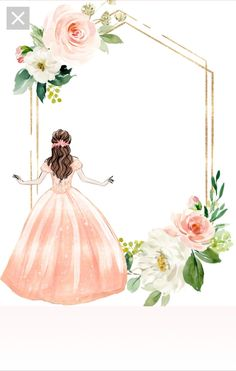 Cute Galaxy Wallpaper, Flower Background Wallpaper, Flower Backgrounds, Cute Girl Illustration, Wreath Drawing, Ramadan Gifts, Frame Template, Sewing Art, Wedding Background