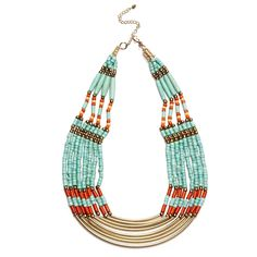Turquoise Beads Beaded And Metal Necklace