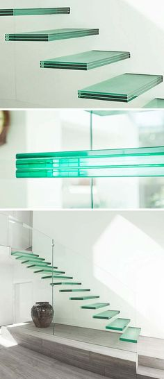glass staircase inside right transpatent with floating stairs and railings