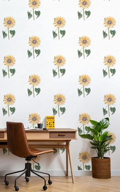 Welcome charming floral design into your space with this elegant white sunflower wallpaper, a fresh illustrative design. Sunflower Wallpaper, Butterfly Wallpaper, Print Wallpaper, Pattern Wallpaper, Wallpaper Murals, Motif Floral, Floral Wall, Floral Design, Sunflower Pattern
