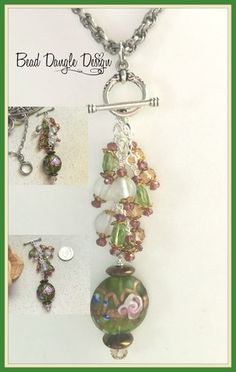 Gorgeous Hand Painted Glass Lampwork Bead accented with Quartz and Frosted Glass. Necklace is Interchangeable so you can remove one Beaded Dangle and replace it with another. Visit Website to See All Collections.