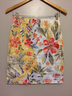 Talbots Women's Multi Color Tropical Floral Giraffe Elephant Pencil Skirt Size 4  | eBay