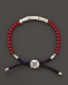 John Hardy Men's Batu Sterling Silver Bamboo Bracelet with Reconstructed Coral | Bloomingdale's