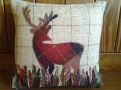 Handmade Stag cushion on Etsy, Applique Cushions, Wool Applique, Embroidery Applique, Fabric Yarn, Fabric Crafts, Tartan Crafts, Stag Cushion, Cushion Inspiration, Beginner Knitting Patterns