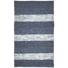 @Overstock.com - Hand Woven Matador Blue Stripe Leather Rug (5' x 8') - Make a striking statement and help the environment with this blue-and-white striped hand-woven rug. Made from cotton and recycled leather, this rugged-look rug is finished with a blue cotton border, and adds a delicate splash of color to your room.  http://www.overstock.com/Home-Garden/Hand-Woven-Matador-Blue-Stripe-Leather-Rug-5-x-8/7650617/product.html?CID=214117 $77.99