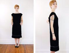 1950s Black Velvet Dress  S by LoveCharles on Etsy, $89.00