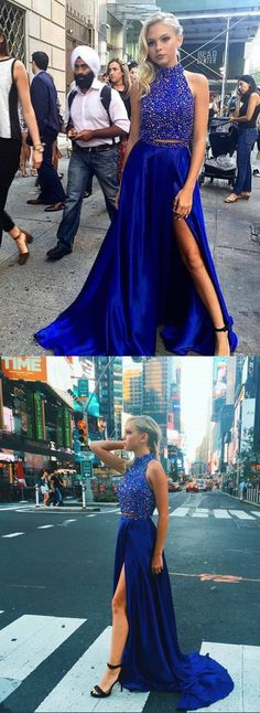 Two Piece Prom Dress,Royal Blue Graduation Dress,Sexy Beaded Two Piece Prom Gown