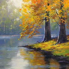 "Happy #FirstDayOfFall! 🍂🍁🍂 ""Autumn Lake"" by #FineArtAmerica 🎨: Graham Gercken"