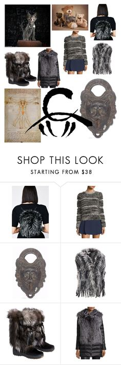 """werewolf kittens and the warm fuzzies"" by courtenay-militaryveteran ❤ liked on Polyvore featuring Carven, Wilsons Leather, Overland Sheepskin Co., Gorski and plus size clothing"